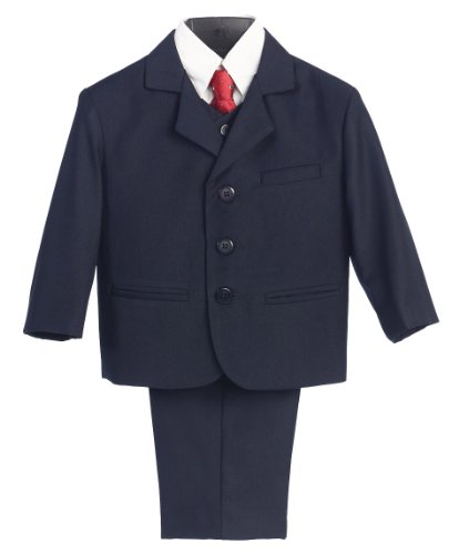 - 5 Piece Navy Blue Suit with Shirt, Vest, and Tie - Size 3T