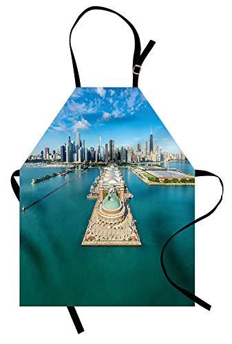SODIKA Chicago Skyline Apron, Kitchen Bib Apron Adjustable for Cooking Baking Gardening Unisex Machine Washable - Aerial Panorama of Navy Pier Marine Metropolis Big City Silhouette View, Multicolor -