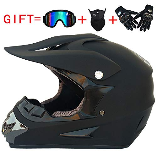 Moda para Hombres Off Road Casco Motocicleta y Moto Dirt Bike Motocross Racing Casco Negro Mate, M