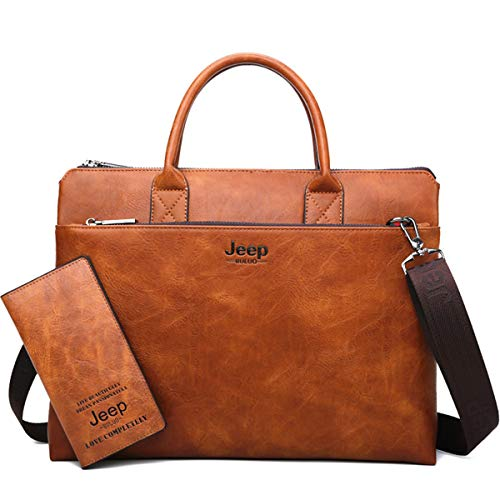 JEEP BULUO Men Briefcase Business Leather Bag 14 inch Laptop - Briefcase Orange Italian