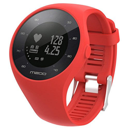 (Quartly Soft Silicone Rubber Bracelet Watch Band Replacement For Polar M200 Fitness watch (Red))