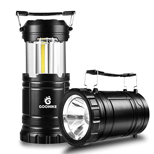 COB LED Camping Lantern Flashlights-2 Pack 350 Lumen Ultra Bright 2-In-1 Portable Collapsible Lantern With 6 AA Batteries for Emergencies, Outages, Hurricanes, Storms,Black