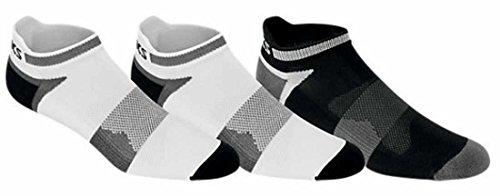 ASICS Unisex Quick Lyte Cushion Single Tab Socks (3 Pairs), White/Black, Large - Asics Running Socks