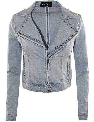 Lovely Denim Jacket with Studs Moto Jacket Style Lightblue M Size (Wide Collar Cropped Jacket)