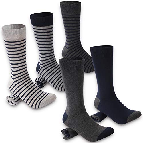 Mens Wide Classic Line - Striped Dress Socks Men, Crazy Eleven Classic Line Patterned Luxury Casual Crew Men Business Socks, Groomsmen Gift Socks for Wedding Husband 5 Pairs(Grey/Navy Stripes)