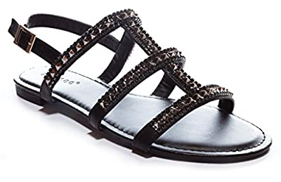 Bamboo Women's Studded Strappy Gladiator Flat Sandal