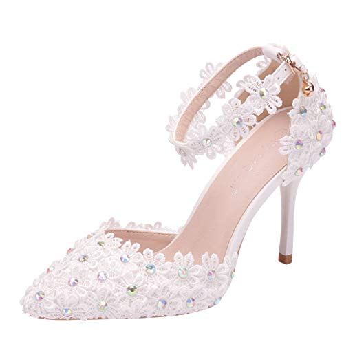 Woman Bridal Shoes Stiletto High Heel Rhinestone Lace Floral Embroidery Lace Satin Pumps Satin Pointed Toe Wedding Shoes (White, 8 M US)