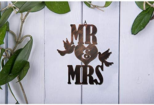 WIPHANY Mr Mrs Metal Rustic Sign Wedding Gift Above The Bed Sweetheart Wall Decor Large