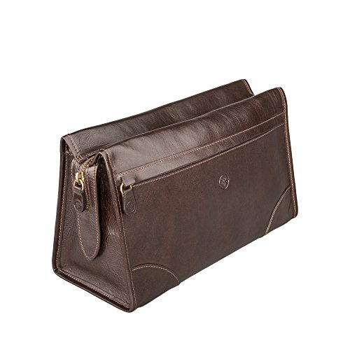 Maxwell Scott Luxury Brown Leather Travel Dopp Kit (The Tanta) - One Size by Maxwell Scott Bags