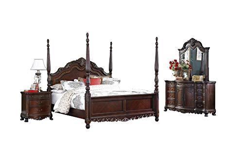 Deryn Park 2243 Traditional Queen Bedroom Set in Cherry, 5-Piece
