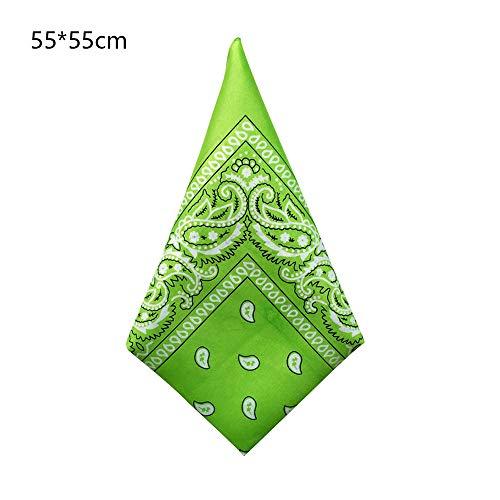 ZFADDS Comfortable Sales 55Cm55Cm Black Red Paisley Printed Bandanas For Women/Men/Boys/Girls Green Onesize