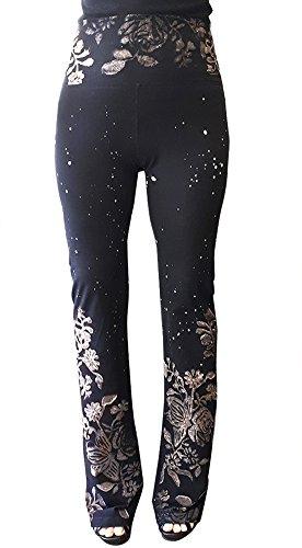 T Party Women's Flower Batik Sprayed Yoga Pants Foldover Waist (Medium, Black with Brown) -