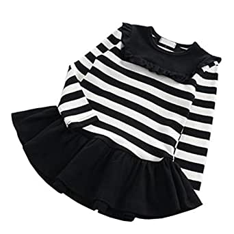 Fairy Baby Toddler Girl Casual Outfit Cute Cotton Striped Ruffle Princess Shirt Dress Size 2T (Black Stripe)