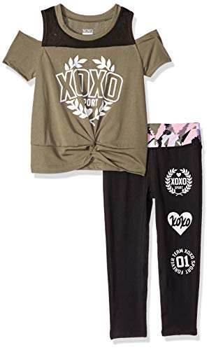 XOXO Girls' Little' 2 Piece Performance Top and Legging Set, Team camo Green/Black, 5/6