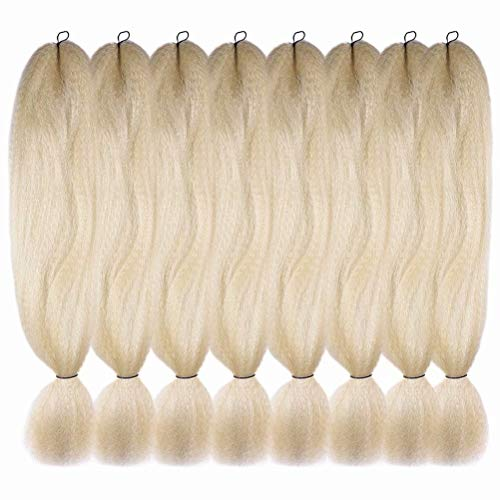 Platinum Braid - Synthetic Fiber Jumbo Kanekalon Braiding Hair 8 Pack Platinum Blonde Color 613# Afro Crochet Braids African Collection Xpressions Braiding Hair Extensions 57g/pack