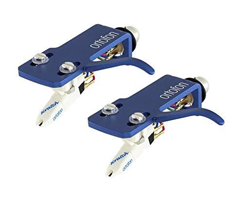 (2) Ortofon OM Scratch White Turntable Cartridges - Premounted on SH-4 Blue Headshells (Twin Set) (Scratch Turntable Cartridge)