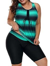 JooMeryer Women's Plus Size Stripes Tie Dye Print Tankini Set 2PCS Swimsuit Swimwear