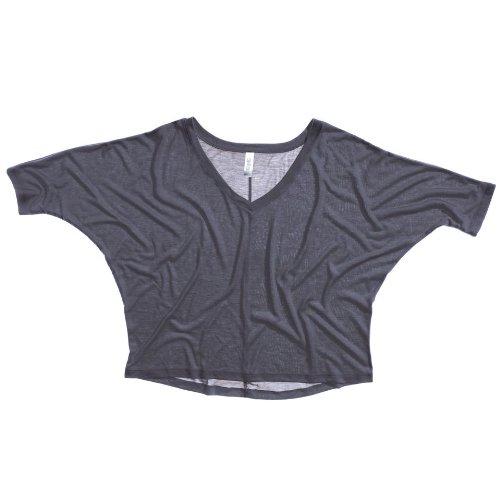 Bella Leinwand Flowy V-Ausschnitt T-Crop Dunkle Grau Heather XL