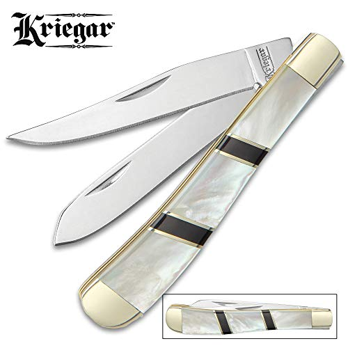 (Ridge Runner Kriegar Ascot Stockman Pocket Knife - Stainless Steel Blades, Genuine Mother of Pearl Handle, Brass Liners, Nickel Silver Bolsters)