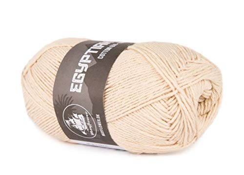 Happy Place Crafts - Organic Egyptian Cotton Yarn Luxury Egyptian Giza Cotton Yarn for Crocheting or Knitting - Soft, 100% Organic, GOTS Certified (Light Cream, 8/4)