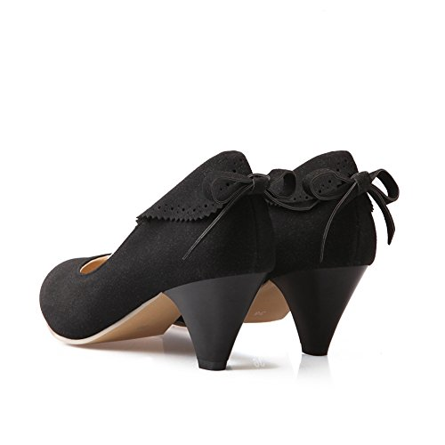 Lucsender Womens Bout Pointu Chaton Talons Mode Pompes Chaussures Avec Bowknot Noir