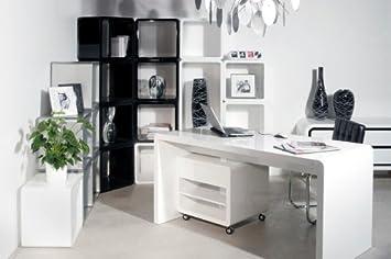 White club bureau blanc 125 x 60 démonté caisson à roulettes by