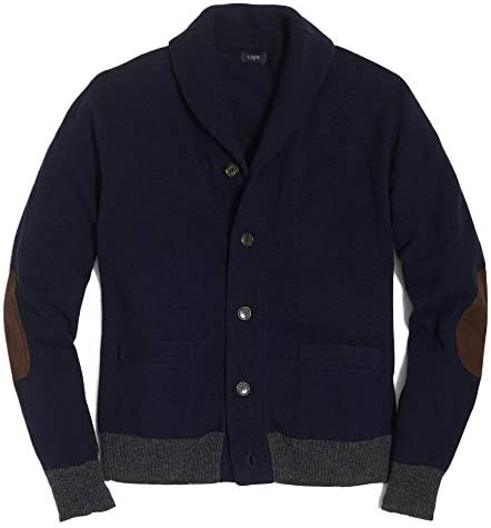 メンズ Mens セーター Lambswool Contrast Rib Cardigan Sweater ダークネイビー Dark Navy [並行輸入品]