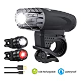 Bike Lights, LED Ultra Bright Bicycle Lights, USB Rechargeable Bicycle Headlight and Taillight Set, Waterproof 360 ° Rotatable Front Lights, Multifunction Bike Light Set For Cycling / Hiking / Camping / Walking / Jogging / Fishing / Rock Climbing