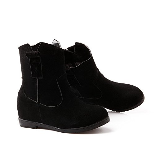 Allhqfashion Women's Kitten-Heels Frosted Low-Top Solid Pull-On Boots Black Gn7XjZWH2