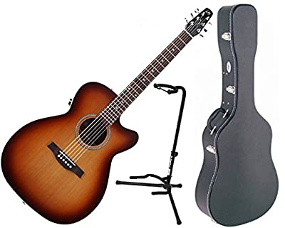 Seagull Entourage Rustic Concert Hall CW QIT Acoustic Electric Guitar w/ Hard Shell Case and Stand