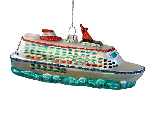 (Glass Cruise Ship Boat Luxury Liner Vacation Christmas Tree Ornament)