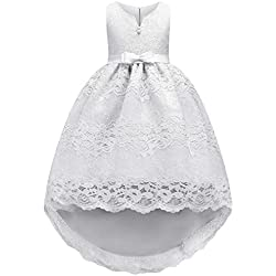 JOYMOM Kids White Dress, Girls Tulle Lace Hemline Baby Baptism Gown Dresses Maxi Dress Tutu Design with Front Tiny Ribbon Tie and Back Bowtie Asymmetic Breathable Party Dress White 110 (3-4Y)