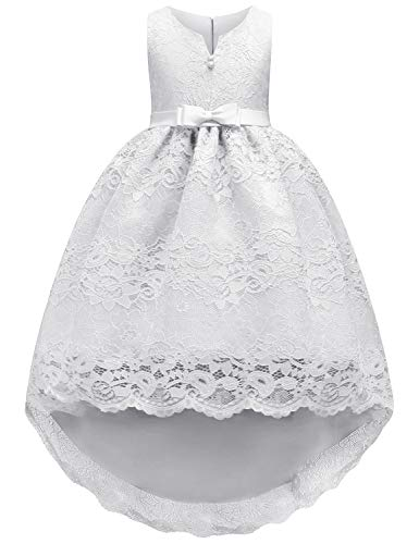 JOYMOM Kids White Dress, Girls Tulle Lace Hemline Baby Baptism Gown Dresses Maxi Dress Tutu Design with Front Tiny Ribbon Tie and Back Bowtie Asymmetic Breathable Party Dress White 110(2-3Y)