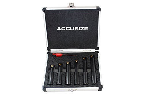 Accusize - 6 pc, 5/8'' Round Shank, 90 Degree, Indexable Boring Bar Set, #2627-9106 by Accusize Industrial Tools