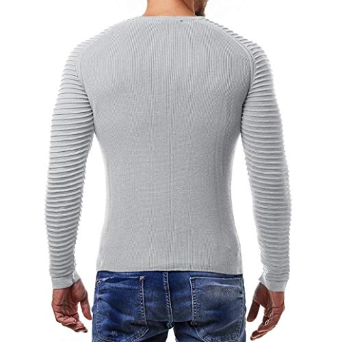 moda Adeshop Hombres manga el Color y Top Pure Tee redondo Casual larga Vertical de Rayas de Top Fold Bar de cuello tIwRqw5S