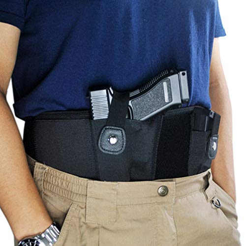 TRIROCK Tactical Concealed Carry Belly Band Holster w/Magazine Pouch for Pistols/Revolvers - for Women and Men - Outside/Inside The Waistband Carry (OWB/IWB) - Right/Left Handed