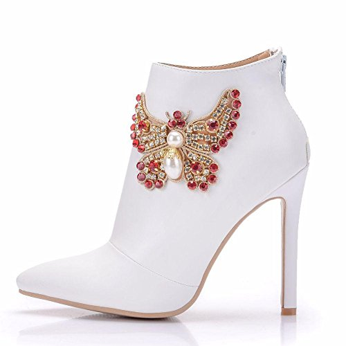 Rhinestones Women's WHITE Bridal Shoes Autumn White Wedding Pointed Size 41 Dress Heel Ladies 35 Spring Party Ankle Evening NVXIE EUR39UK665 High Boots 8wSqf8d