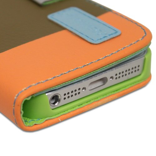Fosmon CADDY-ART Leder Folio Wallet Case Brieftasche Cover hülle mit Hund Strap für iPhone 5 / 5s / SE (Weiß /Blau/Brown/Orange)