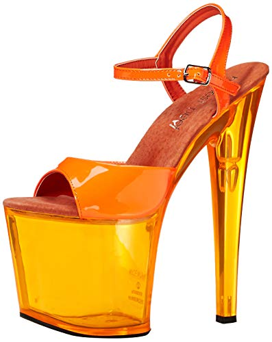 The Highest Heel Women's Fantasy-101 6 Inch Platform Sandal,Neon Orange,10 M US