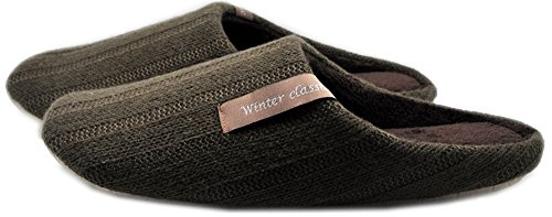 Indoor Home Slippers Bedroom Women Mens Shoes Wool Winter Weaving Memory House Bubble Cotton Autumn Coral Velvet Floor Drag Black ()