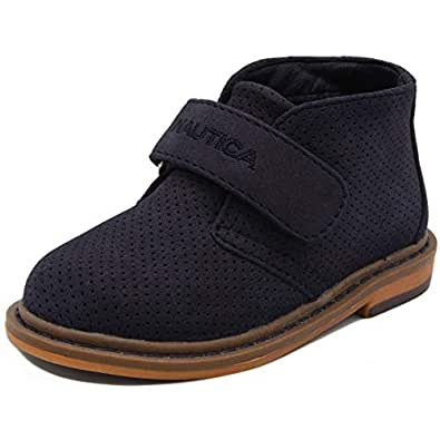 Nautica Kids Chukka Boot Boys Adjustable Strap Dress Bootie-Puget Toddler-Navy Suede Perf-11