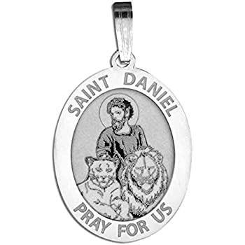 amazon custom engraved saint daniel oval religious medal 1 2 2 X 3 Favor Frames saint daniel oval religious medal 2 3 x 3 4 inch size of nickel sterling silver
