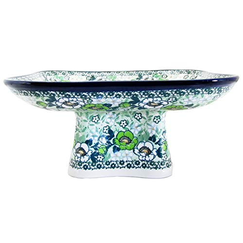 Polish Pottery Unikat 10'' SQUARE PEDESTAL SERVING PLATTER - U4780 Maria Starzyk by Great2bHome Polish Pottery and Unique Gifts (Image #2)