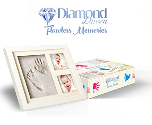 Baby Footprint Kit, Non-Toxic Clay Mold Two Picture Frame, Baby Shower Photo Frame, Keepsake Frame, Acrylic Cover With Premium Quality Wood Clay By Diamond (Diamond Shower Kit)