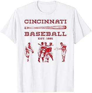 Cincinnati Baseball Vintage Cincy Ohio Retro Red Gift T-shirt | Size S - 5XL