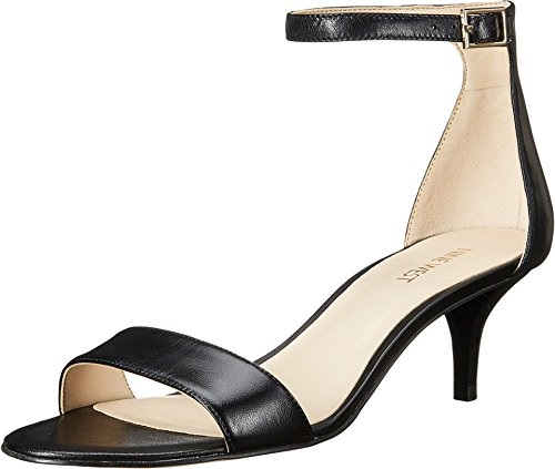 Nine West Women's Leisa Leather Heeled Dress Sandal, Black Leather, 8 M US (Heel Leather Sandal)