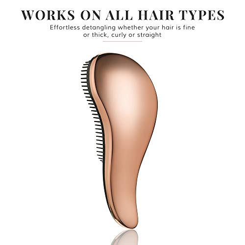 Detangling Hairbrush - Detangler Hair Brush for Women and Kids - Perfect for Wet/Dry/Fine/Thick Hair - Rose Gold