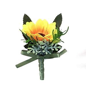 S_SSOY Groom Wedding Flower Boutonniere Simulation Sunflower Bridegroom Groom Men's Groomsmen Best Man Boutineer Corsage for Prom Homecoming Party 91