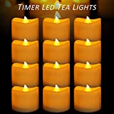 Micandle 12 Pack Battery Timer Tea Lights,6 Hours on and 18 Hours Off in 24 Hours Cycle,LED+PP,No fire Hazards or Burning Risks,Amber Flicker Timer Candles for Wedding Party Home Decor,1.4 x 1.4 Inch