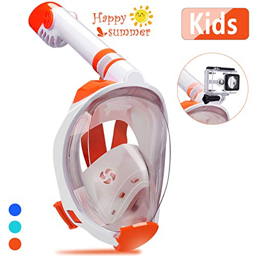 QingSong Snorkel Mask Full Face, Snorkeling Mask for Kids & Adults with Detachable Camera Mount, Foldable 180 Degree Large View Free Breath Dry Top Set Anti-Fog Anti-Leak